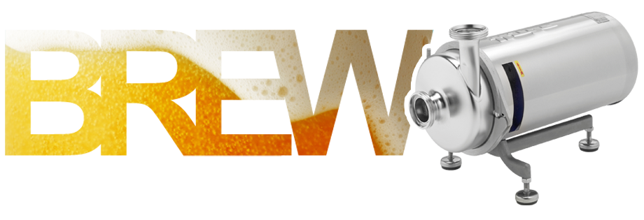 Hilge Pumps Slide 2 with Text image of the word BREW with beer inside and a Hilge Euro-Hygia pump to the right of the letters