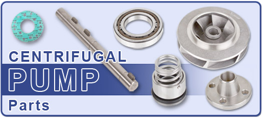 Group of Centrifugal Pump Parts including a gasket, drive shaft, bearing, impeller, seal and flange