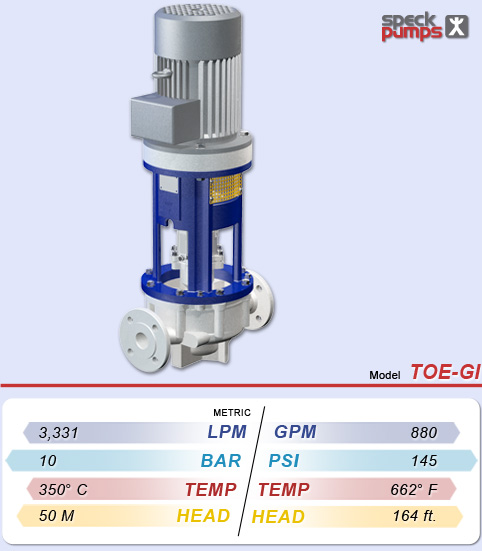 Speck TOE-GI Centrifugal Heat and Thermal Fluid Transfer Pump